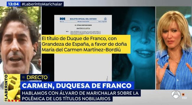 Álvaro de Marichalar y Susanna Griso durante la entrevista (Twitter)