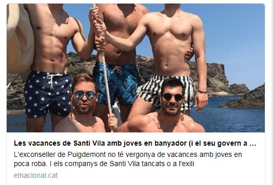 Web separatista, Santi Vila por su orientación sexual