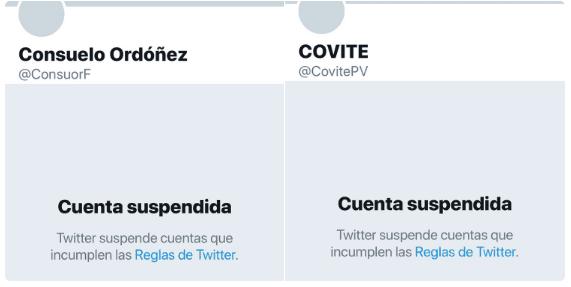 Twitter suspende cuentas de Consuelo Ordoñez y COVITE