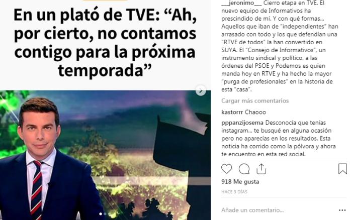 Jerónimo Fernández presentador del Telediario Matinal despedido