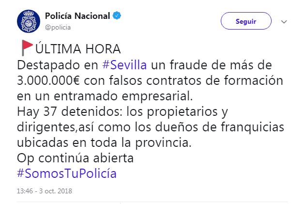 Fraude cursos de formación de Sevilla