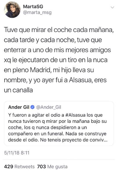 Miserable tuit de Ander Gil respuestas