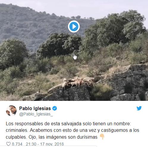 Vídeo manipulación Pablo Iglesias perros despeñados jornada de caza