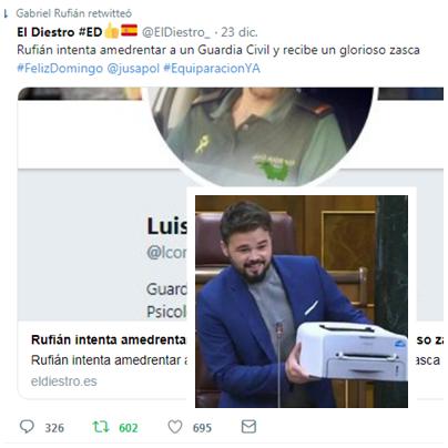 Gabriel Rufián trolls ataques a El Diestro