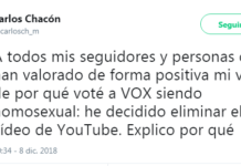 Homosexual vídeo Youtube VOX padres amenazas