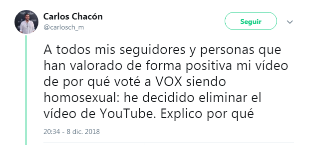 Homosexual vídeo Youtube VOX padres amenazas