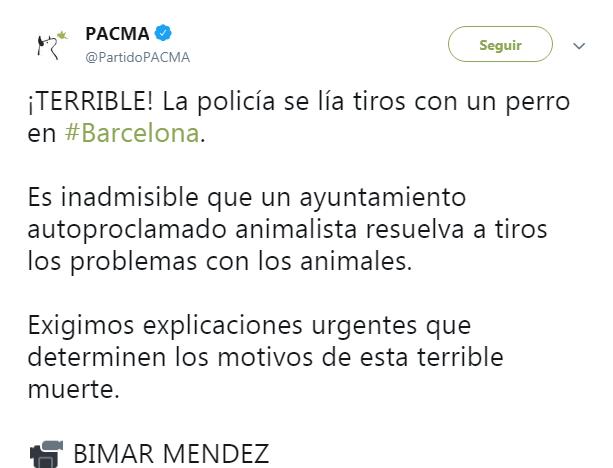 Ada Colau policía municipal matar perro