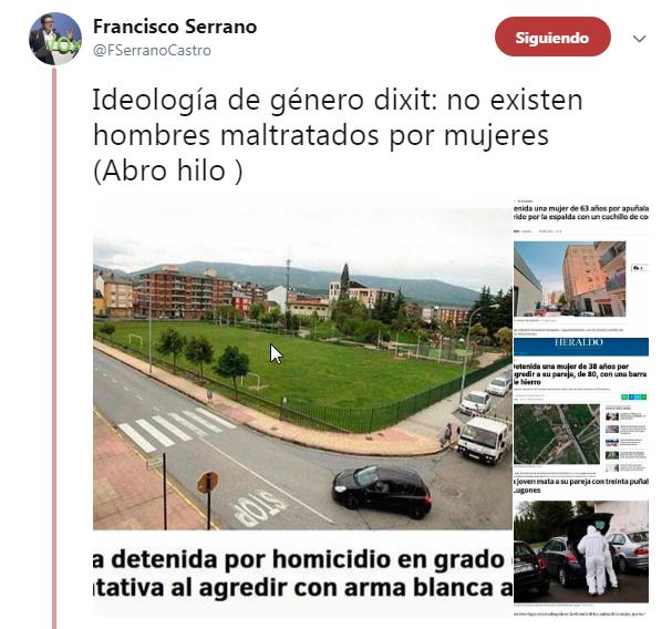 Francisco Serrano hilo Twitter hombres maltratados existen