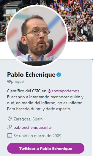 Pablo Echenique bandera de España Twitter