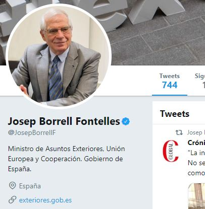 vergonzoso tweet de Josep Borrell
