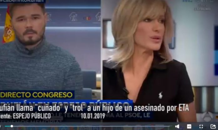 insultos de Rufián al hijo del asesinado por ETA