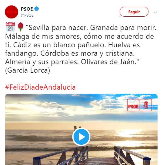El PSOE hace el ridículo al felicitar el día de Andalucía
