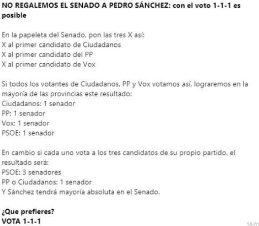 Sospechoso mensaje Whats App votos Senado PSOE