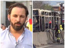 Santiago Abascal quema autobús senegalés
