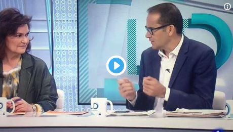 Bravo por este periodista de TVE que se atreve a plantar cara a Carmen Calvo