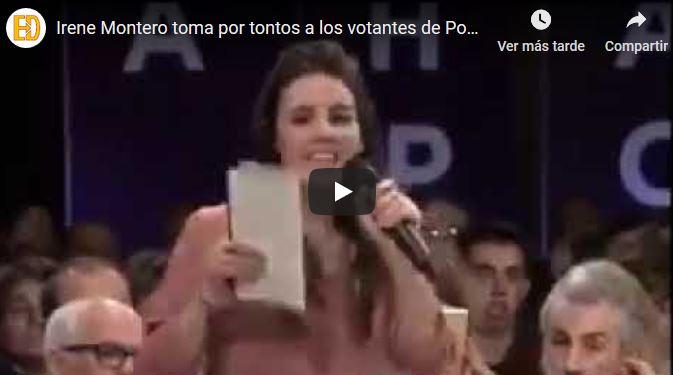Irene Montero toma por tontos a los votantes de Podemos