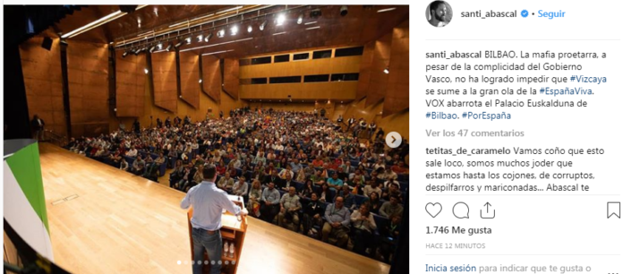 Llenazo de Vox en Bilbao