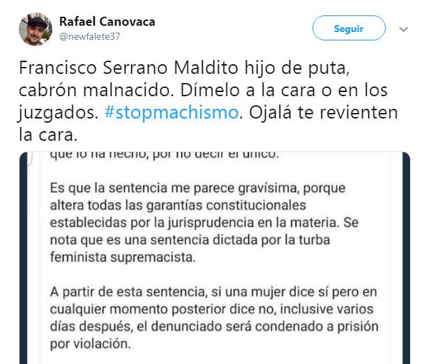 Francisco Serrano amenazas La Manada