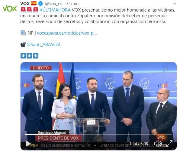 Vox querella criminal contra Zapatero